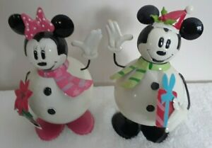 Mickey & Minnie Mouse Christmas Metal Bobble Winter Decor