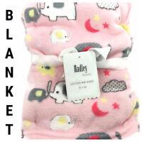 New Baby Blanket Fleece Elephant Clouds Moons Stars Animal Pink 30 x 40 Stroller