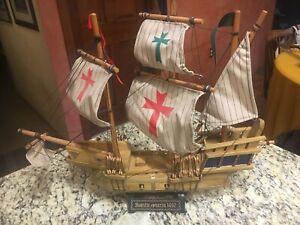 "VINTAGE 20"" Santa Maria 1492 WOODEN SHIP MODEL w/stand EXC cloth sails"