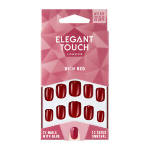 Elegant Touch 24 x RICH RED False Nail Tips & Glue Moisture Free Polished
