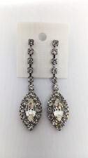 Wedding/Bridal/Formal long Elongated Oval Shaped Clear Rhinestone Earring