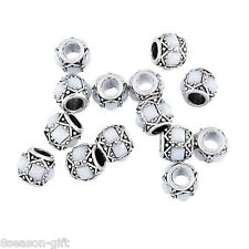 5PCs Charm Beads White Square Acrylic Inlaed Fit Charm Bracelets Silver Tone