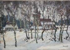 STEFAN BRZOZOWSKI-Polish Impressionist-Original Signed Oil-Wolski Forest Church