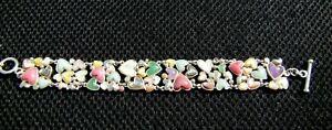 """Sterling Silver Multi Gem Stone Abalone MOP Amethyst Heart Link Bracelet 7.5-8"""""""