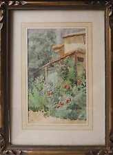 Tableau Aquarelle vers 1900 : le cabanon du jardin aux roses + cadre
