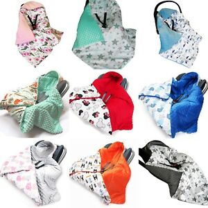 HOODED BABY FILLED BLANKET CAR SEAT Reversible COSYTOES all season Cuddle Plush