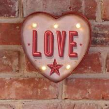 LOVE Heart Shaped Light up LED bulb Metal Carnival Sign Circus Bedroom Retro