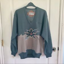 NEW Vintage Men's Wool Embroidered Sweater V-neck Green Size M Lined