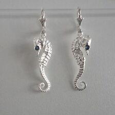 Seepferdchen Ohrringe Maritim Meer seahorse Safir Saphir Sterling Silber 925/-