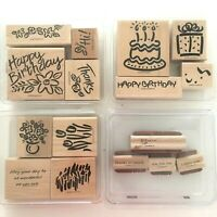 Stampin Up Rubber Stamp 4 Set Lot Bold Birthday Blossom Greetings 3 little Words