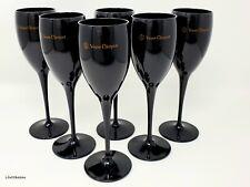 Veuve Clicquot Black Champagne Acrylic Party Flute Goblets New x 6