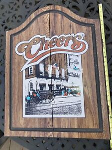 Vintage 1989 Cheers TV Show Dart Board Wood Cabinet + Tippett Tourney Dartboard