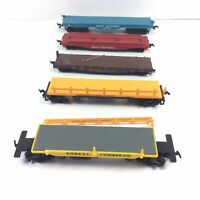 HO Flat Trailer Freight Log Side Operating Dump Cars Mixed Various Lot of 5