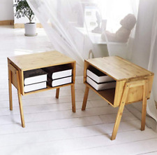 Nightstand End Table Bedroom Bedside Bamboo Furniture Sofa End Storage Set of 2