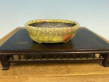"Shohin Size Bonsai Tree Pot Made By Bunzan 3 1/8"" Yellow And Red Crackle Glaze"