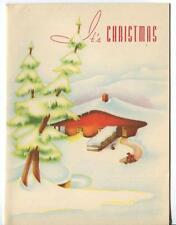 VINTAGE 1940'S CHRISTMAS RED ORANGE COUNTY LOG CABIN HOUSE LUMBER JACK ART CARD