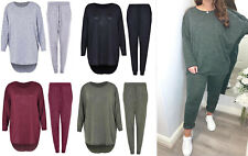 Womens Ladies 2pc Track Suit Ladies High Low Top & Bottoms Casual Loungewear Set