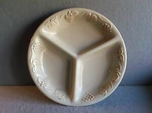 """STONEWARE THREE COMPARTMENT DIVIDED SERVING DISH ROUND 13""""  BEIGE Nature Print"""