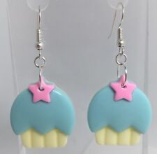 Blue Pink Cupcake Yellow Star Earrings G220 5.6 Cm Long Pastel Kawaii