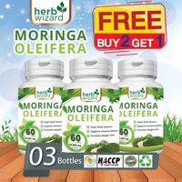 3 x 60  Moringa Oleifera Organic Leaf Extract 10,000mg Serving 100% Pure Tablets