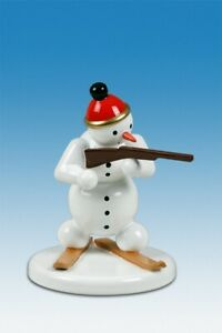 Wood Figure Christmas Snowman Biathlete Standing Height Approx 2 5/8in New