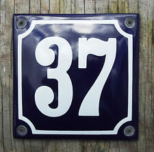 FRENCH ENAMEL HOUSE NUMBER SIGN. WHITE No.37 ON A BLUE BACKGROUND. 10x10cm.