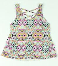 Billabong Girls Tribal Cross Back Tank Top T-Shirt Multi Size M New