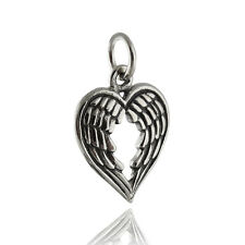 Angel Wings Heart Charm - 925 Sterling Silver - Fantasy Angels Love Pendant NEW
