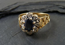 Vintage 1970s Midnight Sapphire & Diamond 9ct Gold Ring
