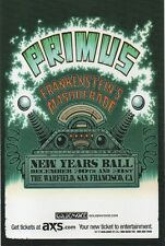 PRIMUS FRANKENSTEIN'S MASQUERADE NEW YEARS BALL '13 SF WARFIELD THEATRE HANDBILL