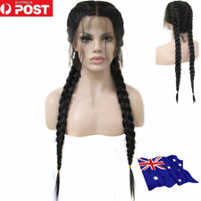 26 inch Braided Lace Synthetic Black Front Wig With Hair Long Straight Wigs ON