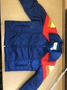 MENS~Vintage 2 Pc~SWING WEST~Blue~SKI Suit~JACKET~Snow Pants~BIBS~Rainbow - XL