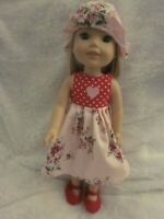 Wellie Wishers doll clothes/14 inch/red polka dot/print summer dress/hat