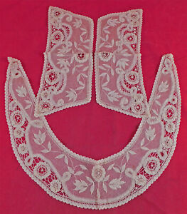 Victorian Antique Unused Cream Brussels Princess Tape Lace Collar Cuffs Set Vtg