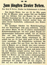 Prof. A. Belar Laibach Zum jüngsten Tiroler Erdbeben Histor. Leitartikel v. 1910