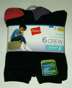 HANES Soft & Cushioned Full Sole 6 Pair Crew Socks Womens Shoe Size 8-12