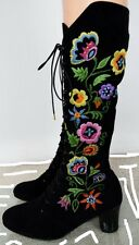 Vtg 1960s 6 6.5 Penny Lane Almost Famous Embroidered & Beaded Black Suede Boots!
