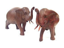 Set of 2 Hand Carved Thai Wooden Elephant
