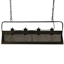 Screened Coup Chandelier Long Bar Farmhouse Style Natural Metal Light