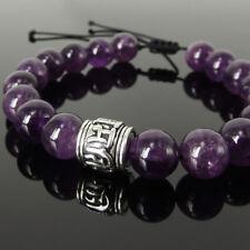Men's Meditation Bracelet Yogi Bead Amethyst Crystal S925 Sterling Silver 1459M
