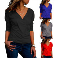 Women Frill Sleeve V-Neck Slim Tops Casual Blouse T-Shirt Bottoming Plus Size