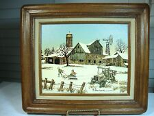 H Hargrove Winter Barn Farm House & Stables with 2 children sledding in the snow