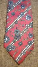 Mens CHRISTIAN DIOR Necktie Classic Silk Tie Floral Striped Red Teal