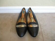 Coach Ruthie Black Leather And Chrome Flats For Women Size 10 B Eur 40