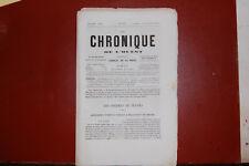 Journal regional; La chronique de l'ouest N°34 1Décembre 1857-Comte de Coutard
