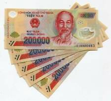 One Million Vietnam Dong Currency (Vnd) - (5) 200,000 Notes - Fast Delivery