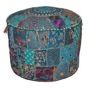 Ottoman Cover Indian Vintage Pouffe Kantha Bean Bag Bohemian Patchwork Pouf Art