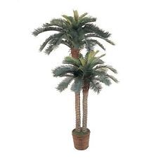 Artificial Double Potted Palm Trees Tropical Floral Plant Natural Silk Basket
