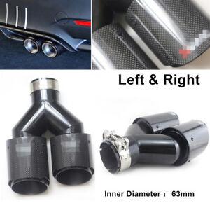 "Left + Right Gloss Carbon Fiber Steel Exhaust Tip 2.5"" Inlet Dual Pipe Muffler"