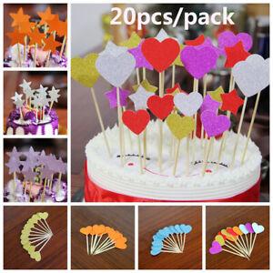 Favors Birthday Decor Cupcake Toppers Picks Glitter Star & Heart Cake Decor